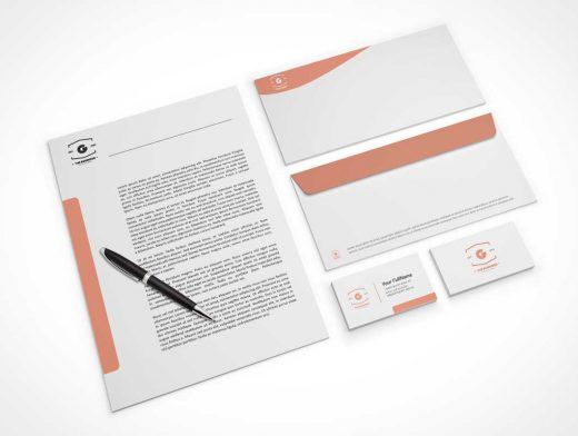 Company Stationery Letterhead, Business Cards & Envelopes PSD Mockup