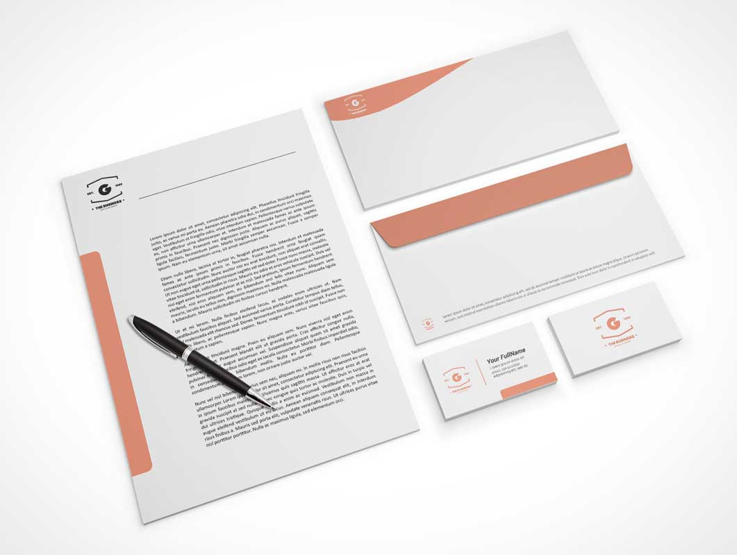 Company Stationery Letterhead, Business Cards & Envelopes PSD Mockup