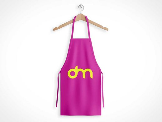 Cooking Apron Smock Front & Clothes Hanger PSD Mockup