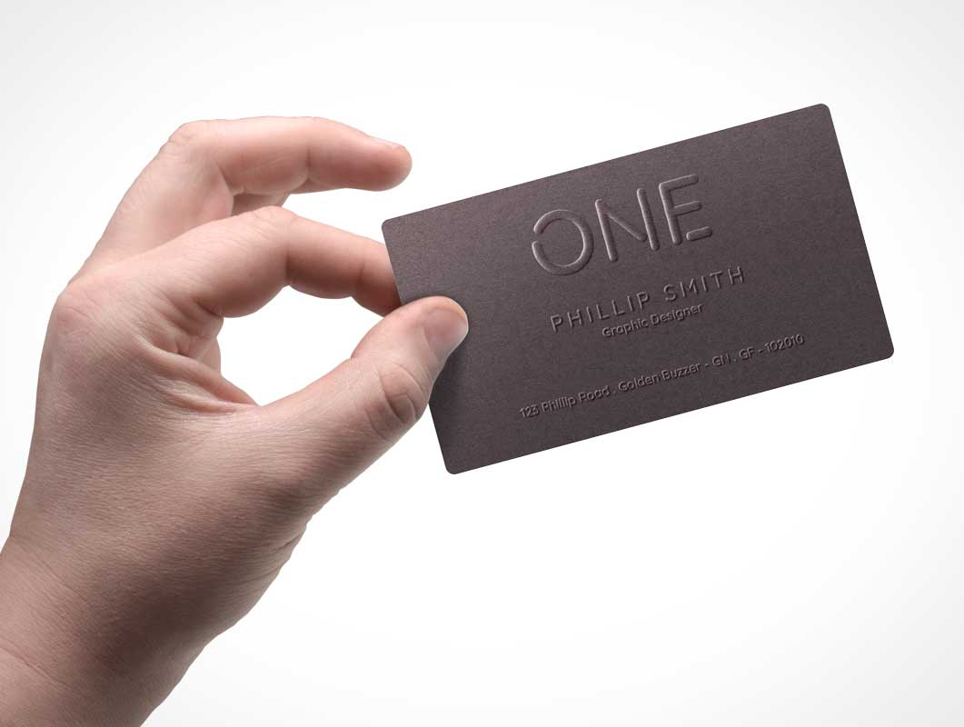 Corporate Business Card Front In Hand PSD Mockup