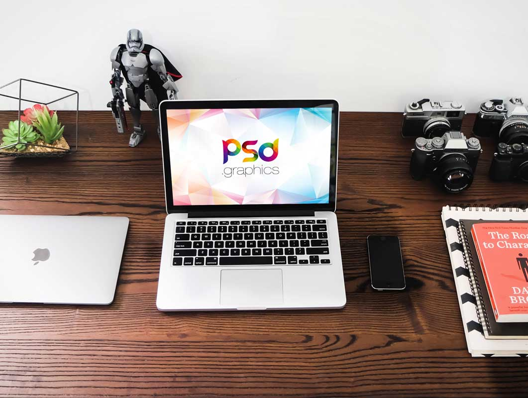 Dual MacBook Workspace Office Desk & Smartphone PSD Mockup