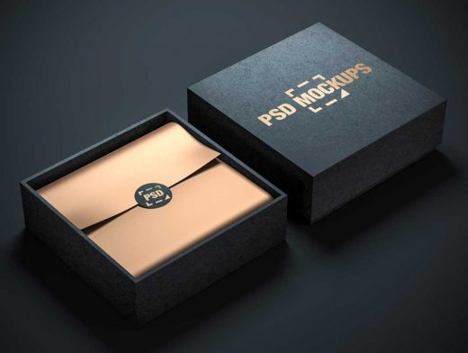Fabricated Square Jewelry Box Interior & Top Cover PSD Mockup