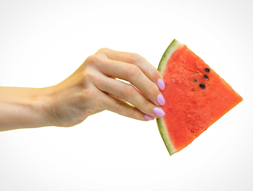 Female Hand Holding Watermelon Fruit PSD Mockup
