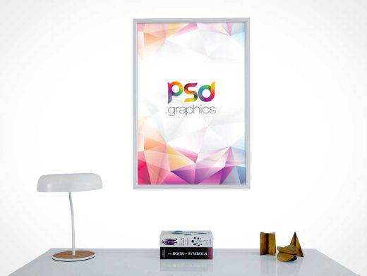 Home Office Framed Wall Poster & Desk PSD Mockup