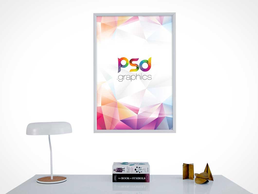 Home Office Framed Wall Poster & Desk PSD Mockup