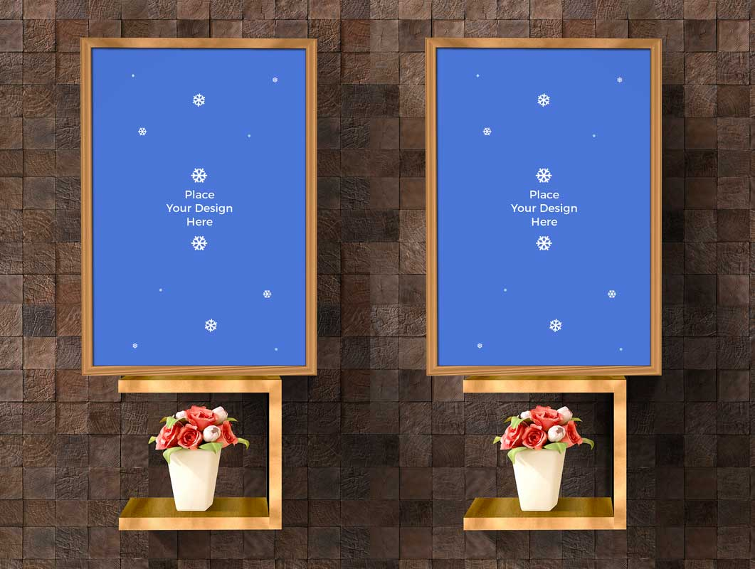 Interior Framed Photo Panels & Shelves PSD Mockups