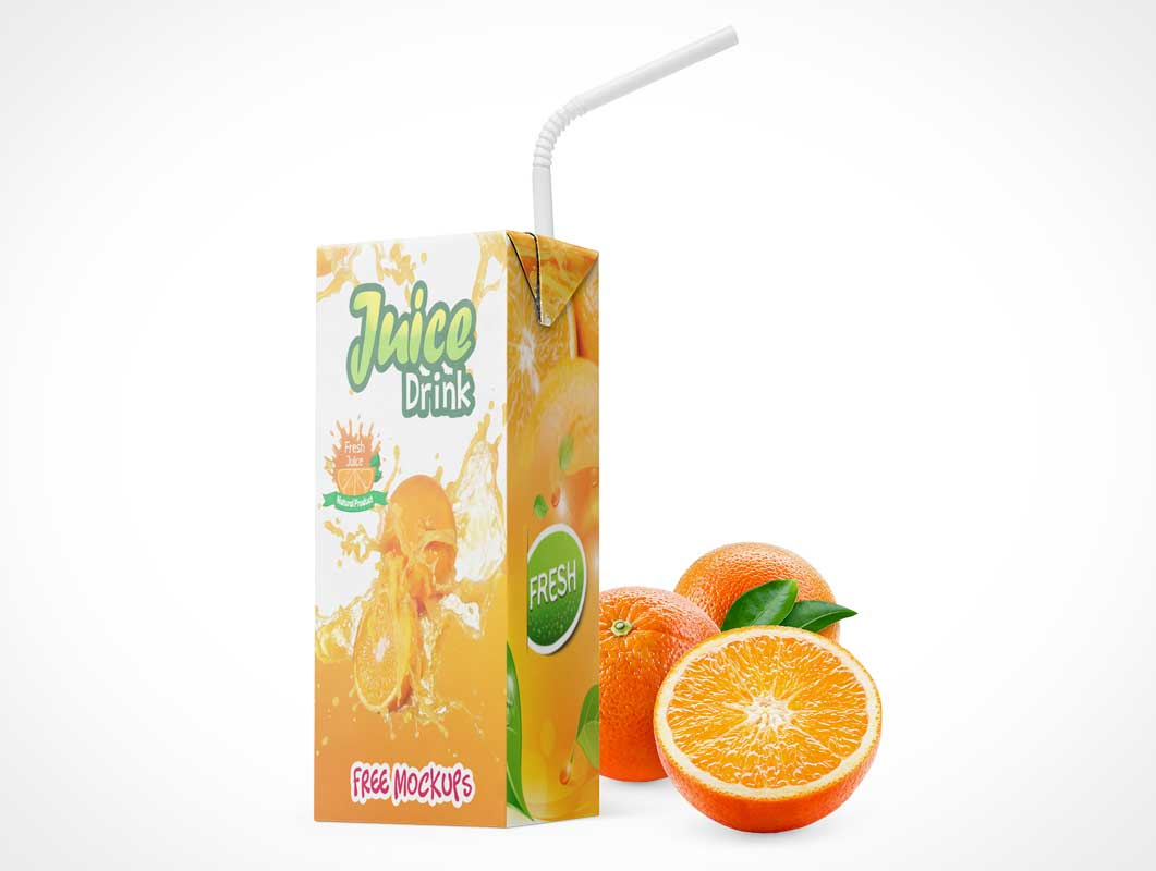 Juice Box Drink Container Package & Bendy Straw PSD Mockup