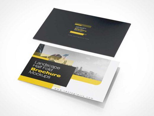 Landscape Bi-Fold Pamphlet Brochure Front & Back Panels PSD Mockup