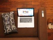 Macbook, Couch, Slippers & Apple Remote PSD Mockup