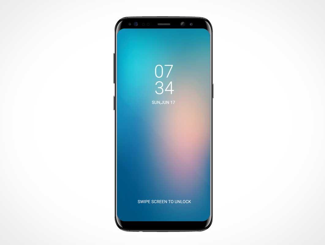 Mobile Samsung Smartphone S8 Front Display PSD Mockup
