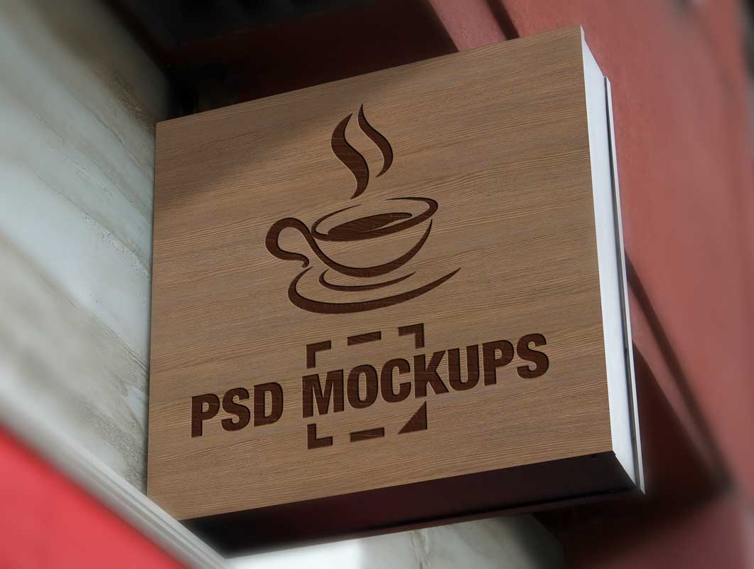 Mounted Boutique Shop Sign Display PSD Mockup