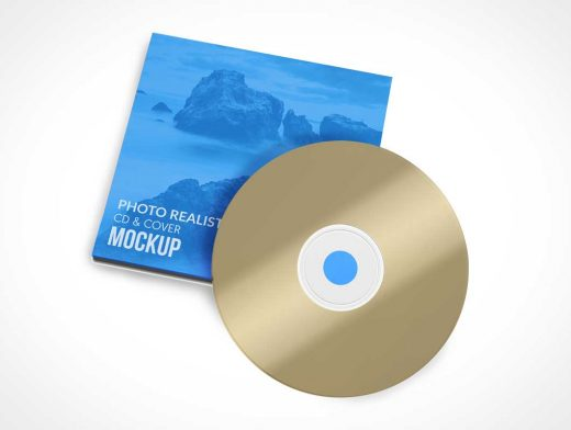 Music CD Disk & Jewel Box Sleeve Cover PSD Mockup