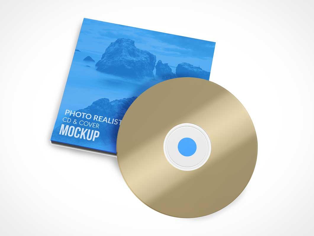Music CD Disk & Jewel Box Sleeve Cover PSD Mockup