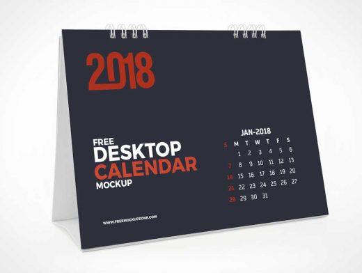 Office Desk Landscape Tent Calendar PSD Mockup