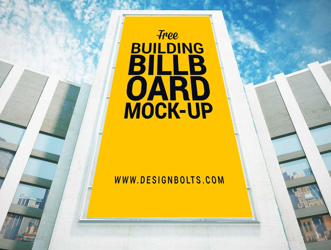Overhead Building Entrance Billboard PSD Mockup