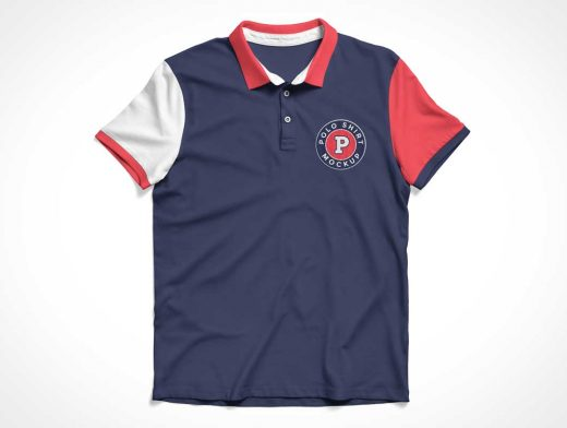 Polo Style Button T-Shirt Front & Back PSD Mockup
