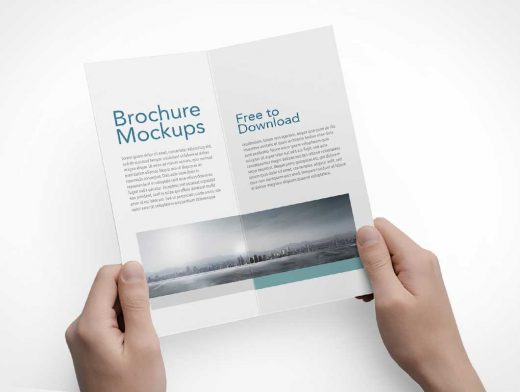Portrait Mode, 2 Panel Bi-Fold Flyer PSD Mockup