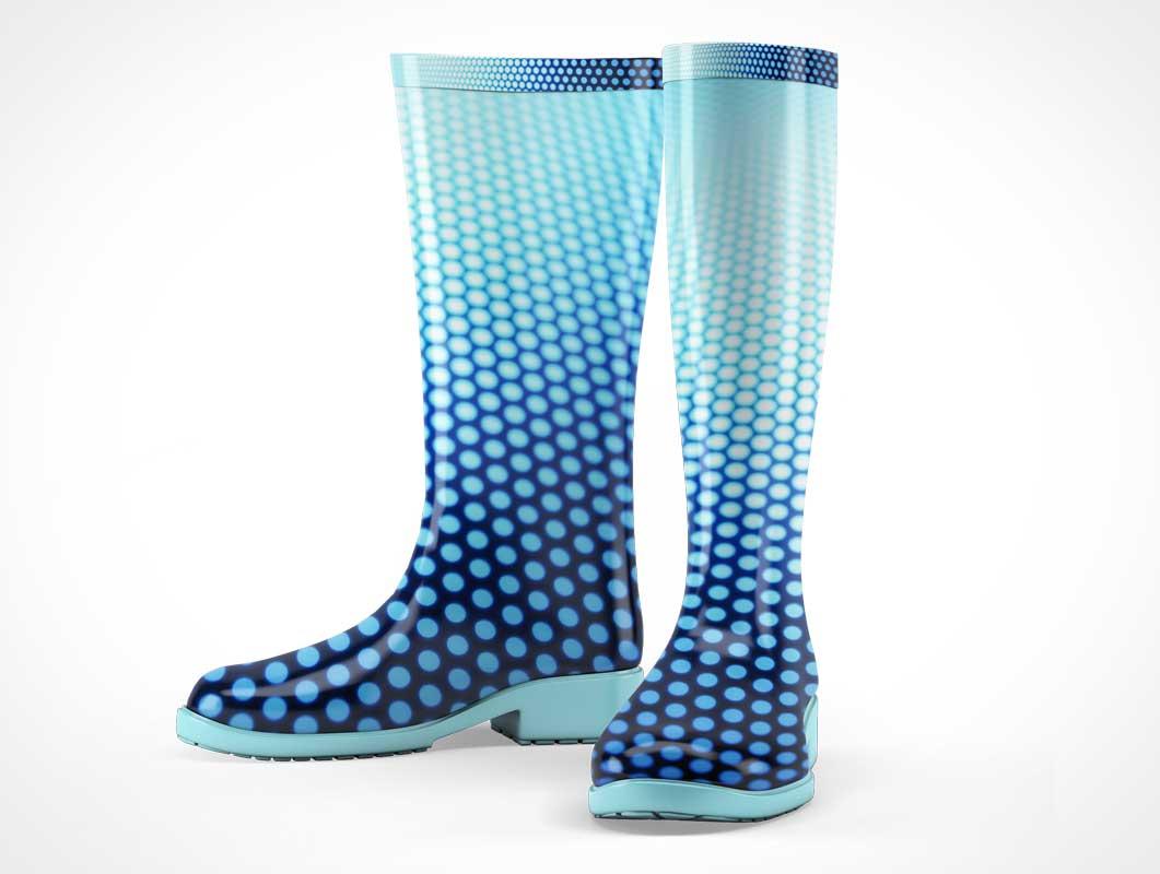Rain Boots Footwear Branding PSD Mockup