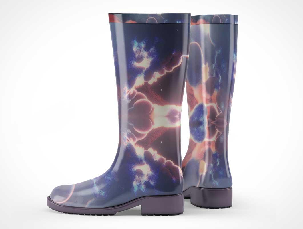 Rubber Rain Boots Left & Right Foot PSD Mockup