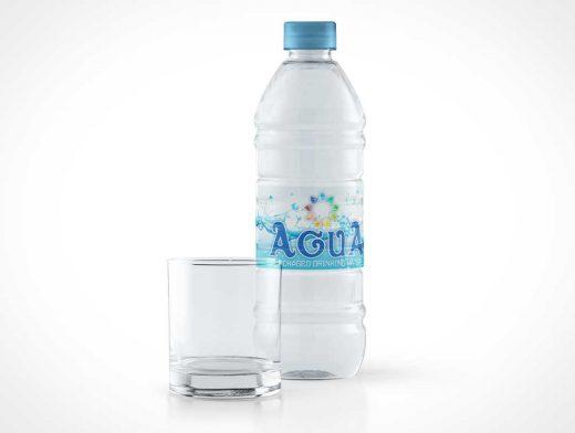 Sealed Plastic Water Bottle & Empty Glass PSD Mockup