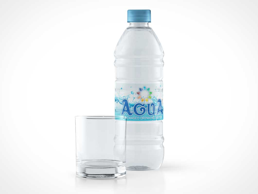 Sealed Plastic Water Bottle & Empty Glass PSD Mockup