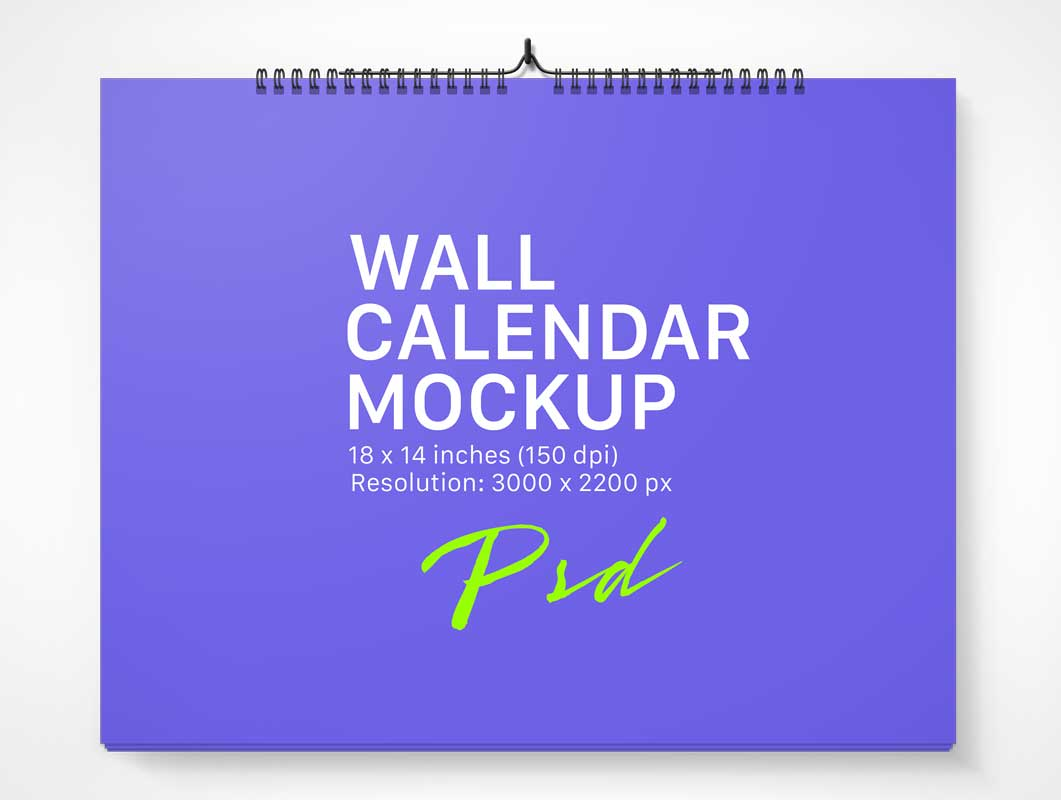 Spiral Ring Bound Landscape & Portrait Mode Calendars PSD Mockup