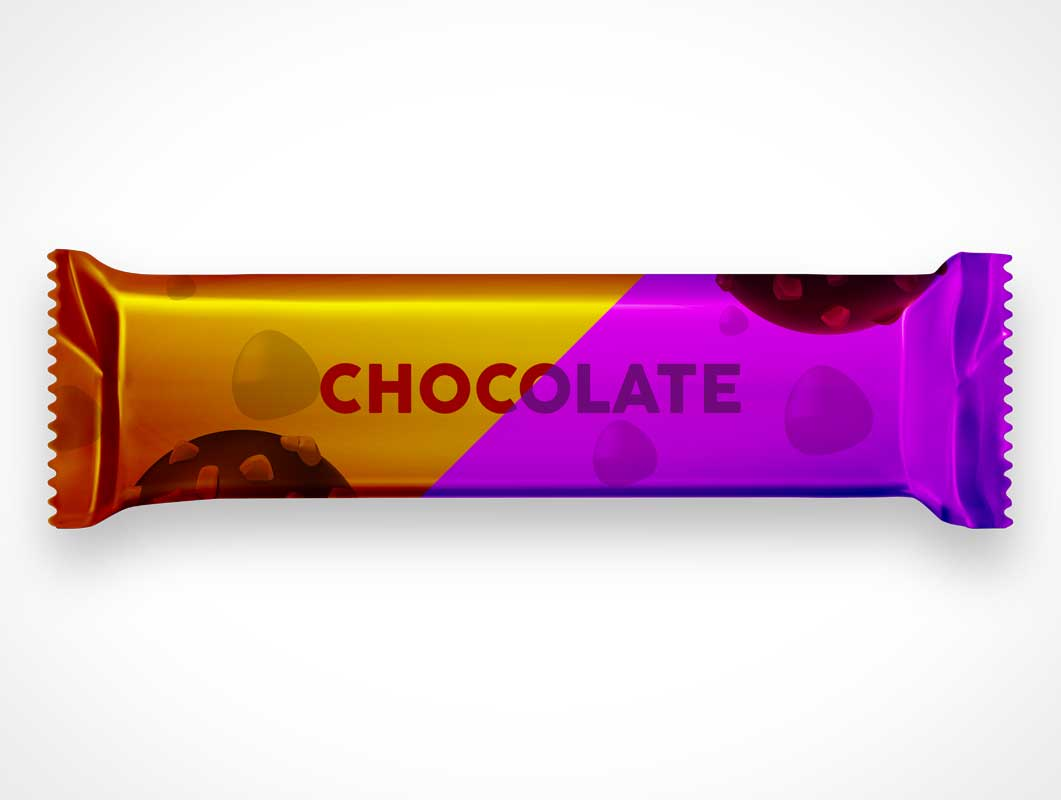 Sweet Candy Chocolate Bar Wrap Treat PSD Mockup