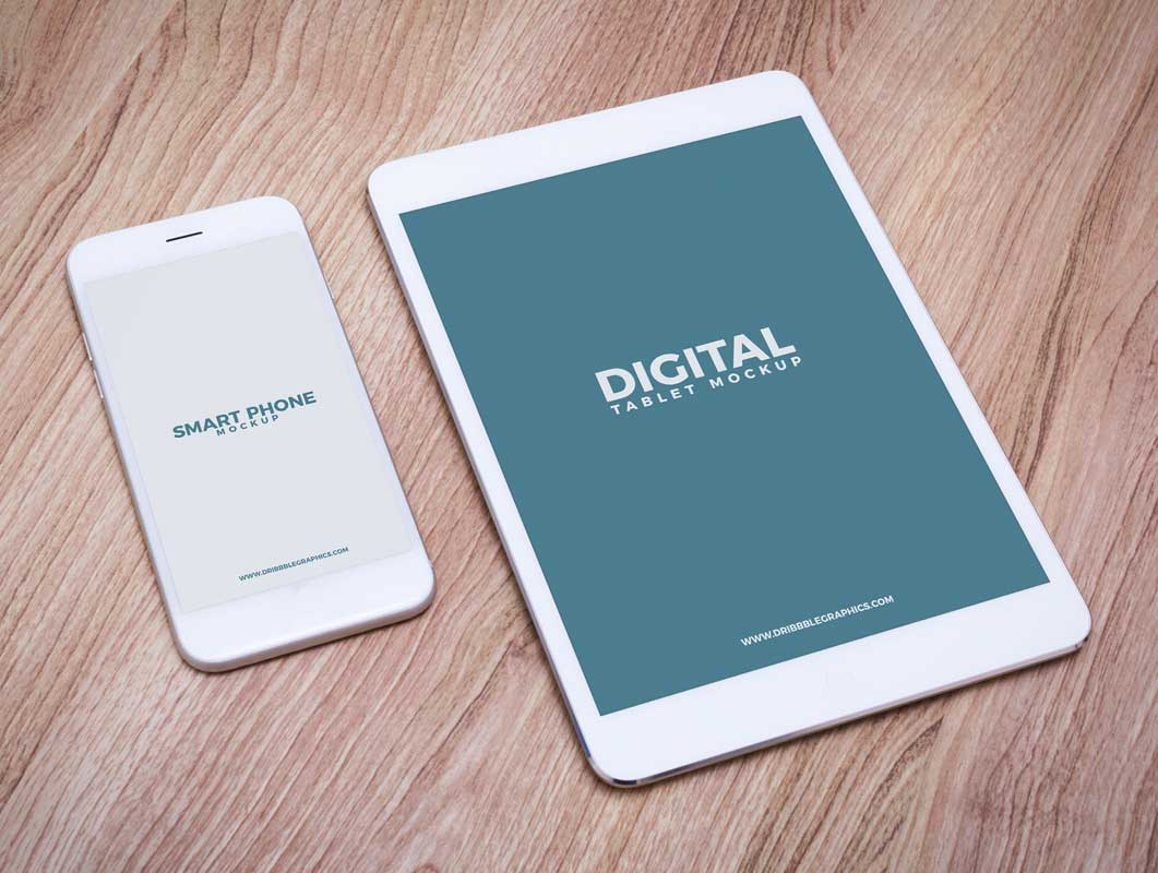 Tablet & Smartphone Mobile Devices PSD Mockup