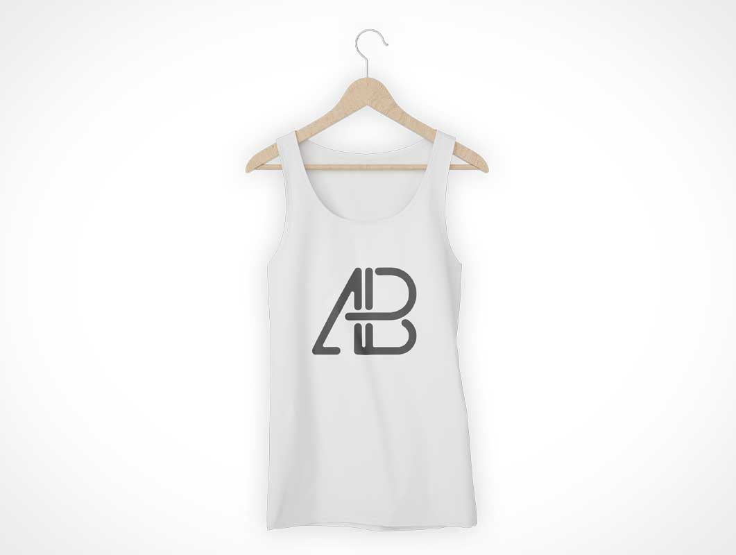Tank Top & Cloths Hanger Front View PSD Mockup