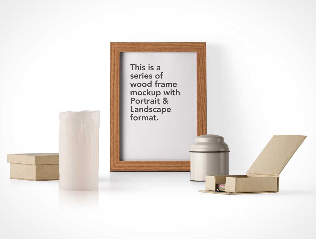Tin Canister, Framed Wooden Poster & Wax Candle PSD Mockup