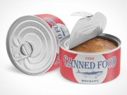 Tin Canned Food Cans & Pull Tab PSD Mockup