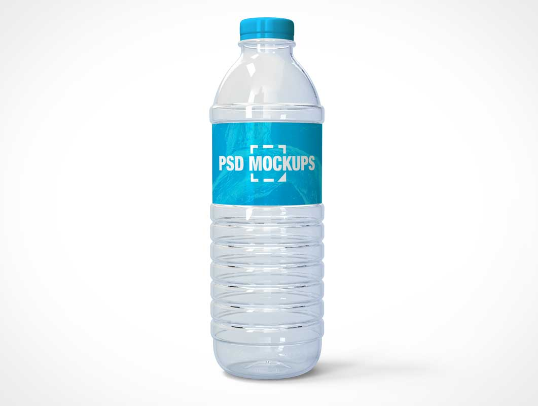 Translucent Plastic Water Bottle & Twist Cap PSD Mockup