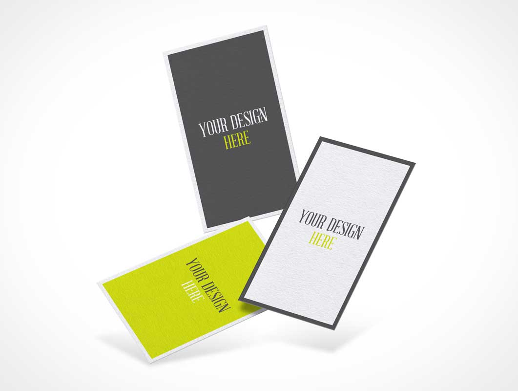 Trio Floating Business Cards PSD Mockup