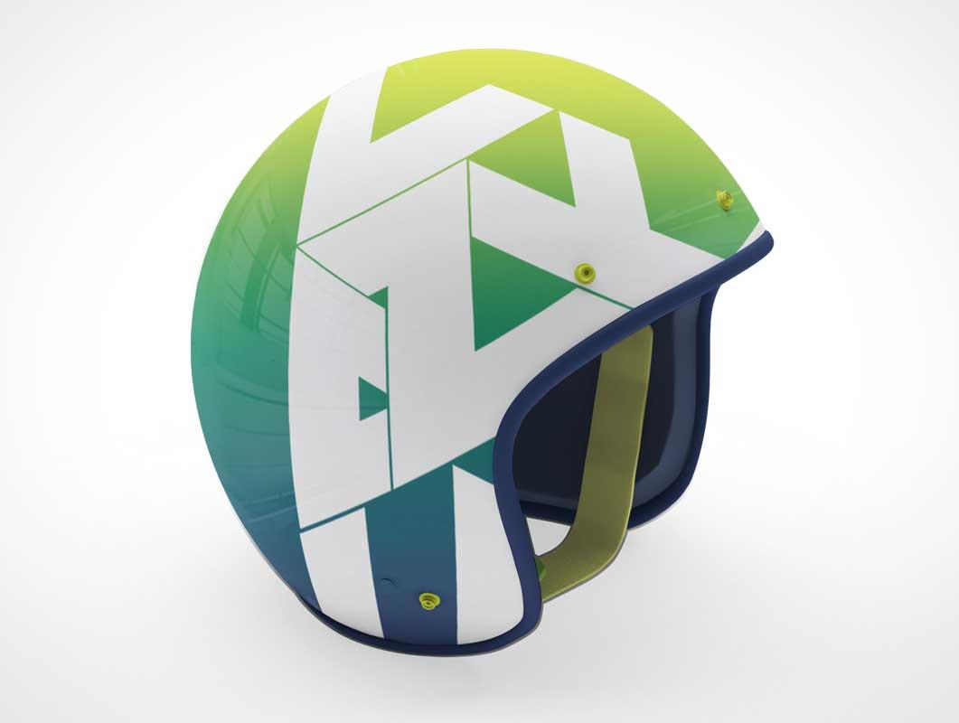 Visor-less Sports Helmet With Straps PSD Mockup