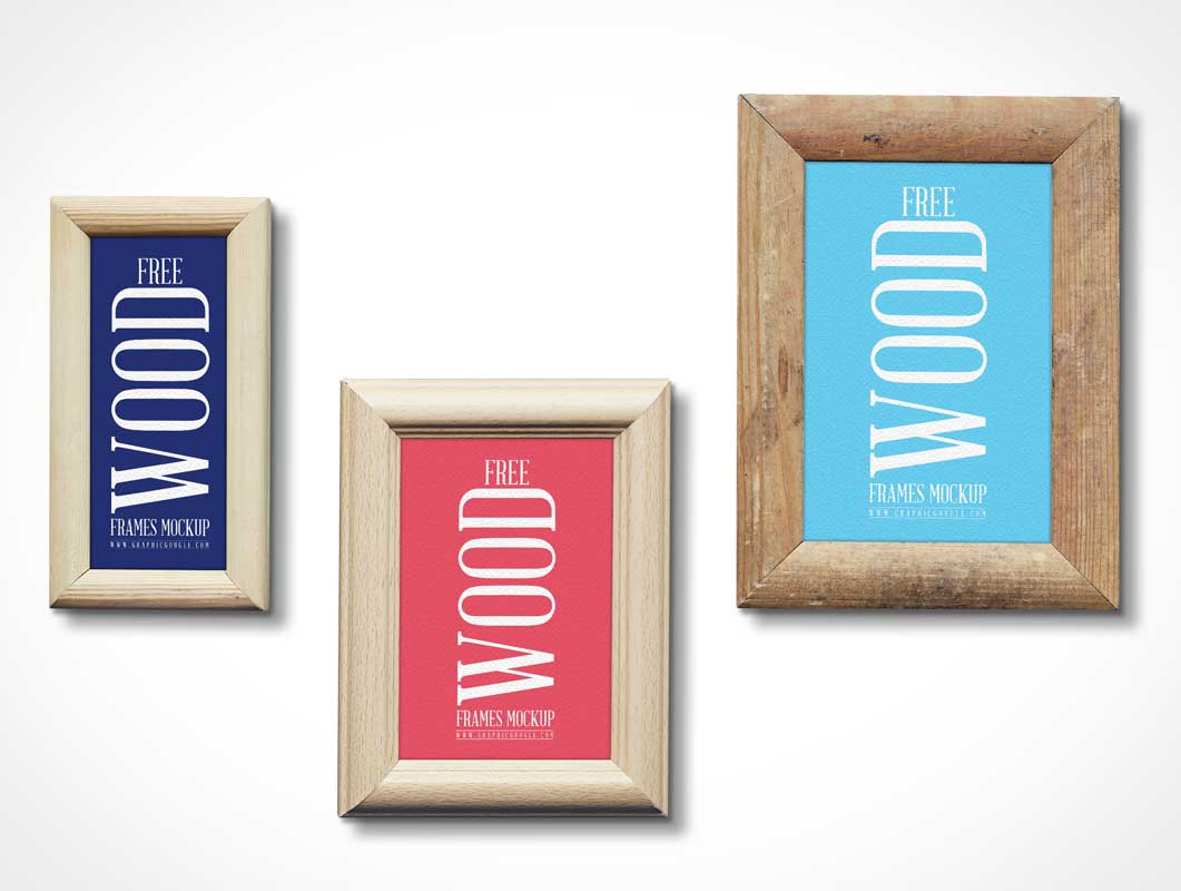Wall Hung Wooden Picture Frames PSD Mockup