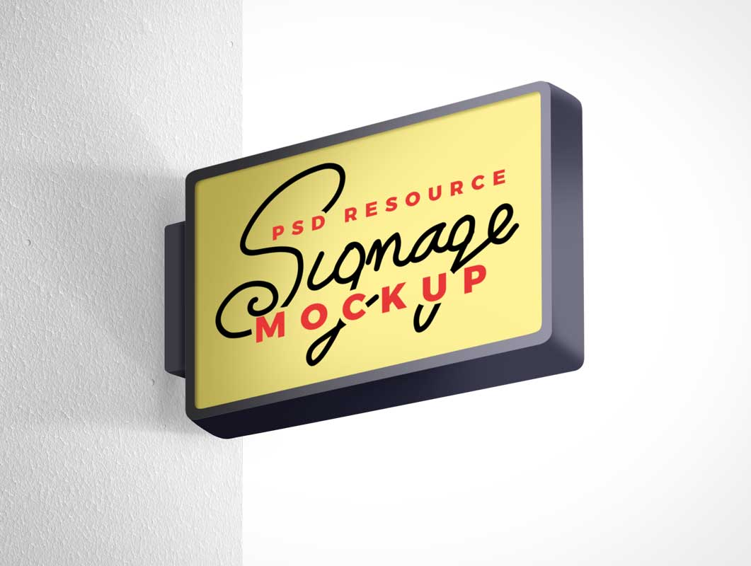 Wall Mounted Boutique Store Signage PSD Mockup