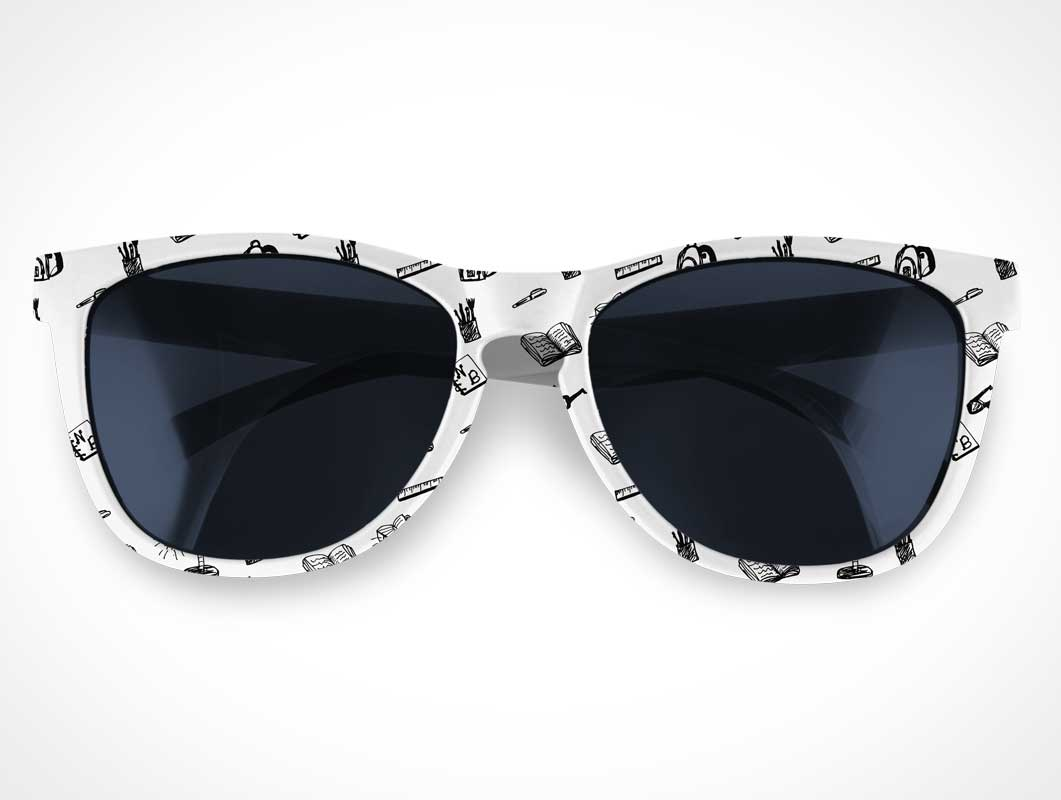 White Framed Sunglasses & UV Tinted Lenses PSD Mockup
