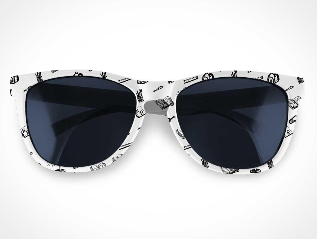 White Framed Sunglasses & UV Tinted Lenses PSD Mockup