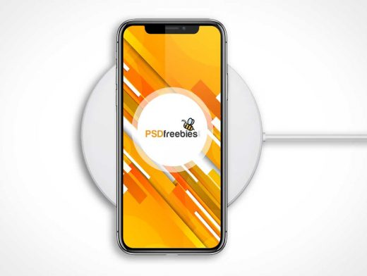 iPhone X & AirPower Qi Charging Pad PSD Mockup