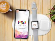 iPhone X & Apple Watch Charging Station PSD Mockup