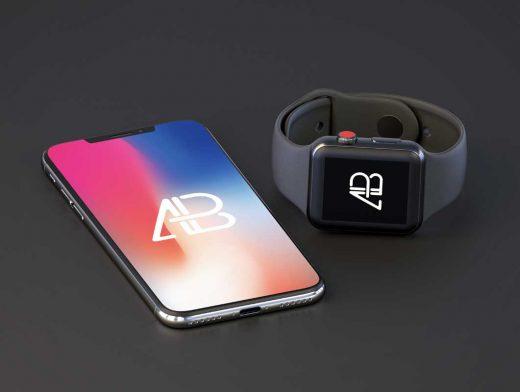iPhone X & Apple Watch Displays PSD Mockup