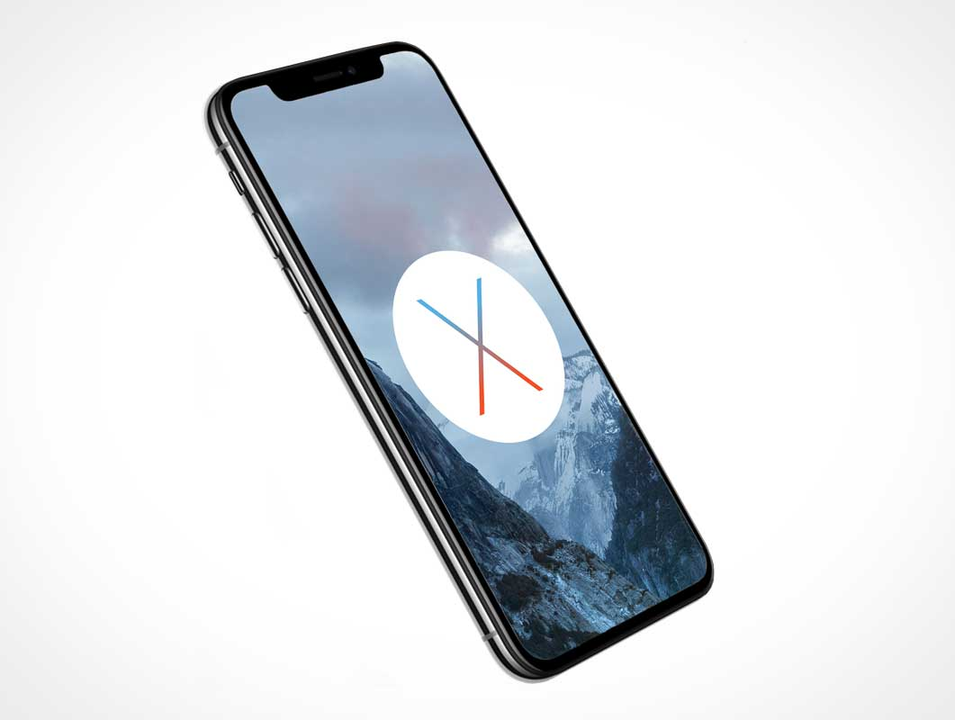iPhone X Front OLED Screen Partial Side View PSD Mockup