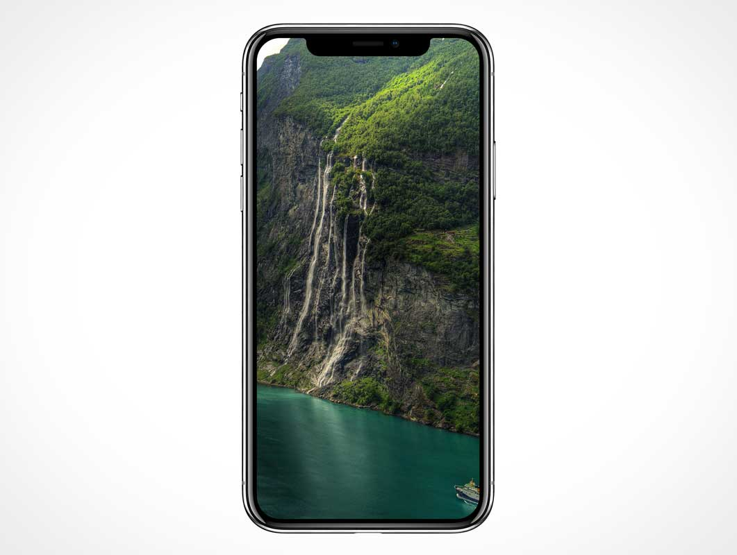 iPhone X Front Screen Display Notch PSD Mockup