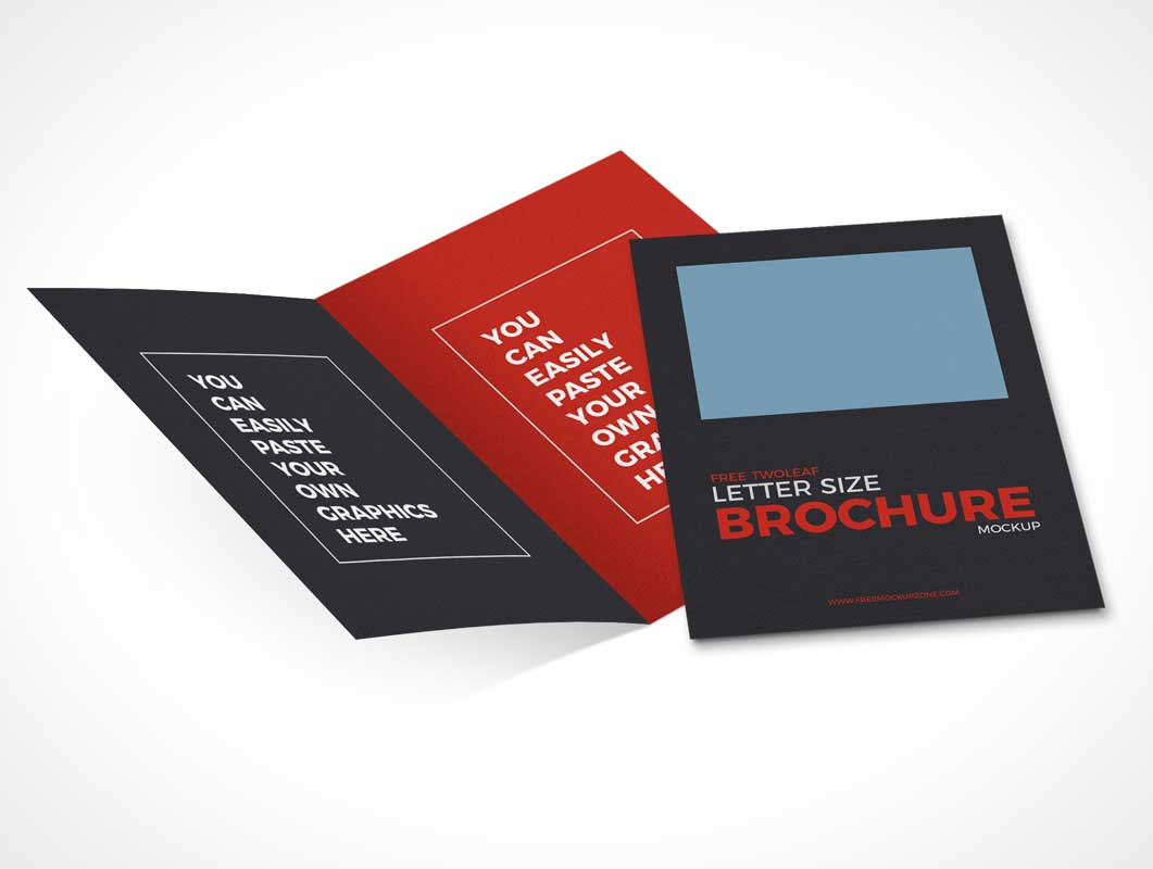 2 Panel Bi-Fold Brochure Flyer & Front Panel Cover PSD Mockup