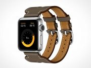 3 iWatch Display & Hermès Edition Bands PSD Mockup