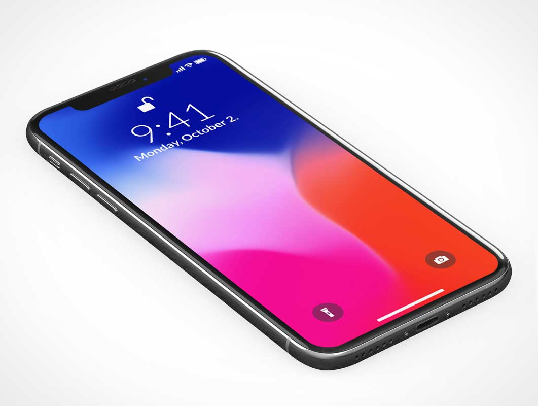 3D iPhone X OLED Display PSD Mockup