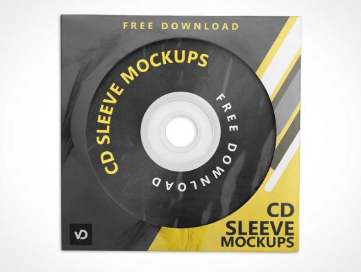 4 Music CD Discs & Sleeves PSD Mockup