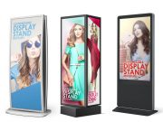 6 Standing Mall Sign Back-lit Advertising Displays PSD Mockup
