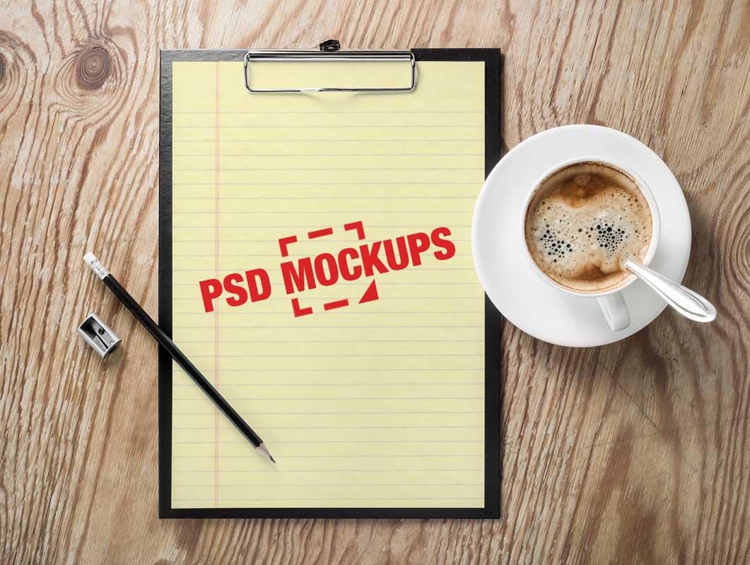 A4 Paper Sheet Clipboard & Cappuccino Cup PSD Mockup