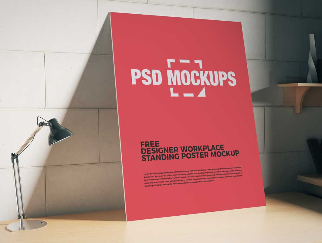 Articulating Lamp & Frameless Poster Workspace PSD Mockup